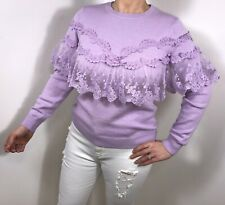 Lace Jumper Frills Ruffles Lilac Vintage Lace Top Fashion On Trend Summer NEW
