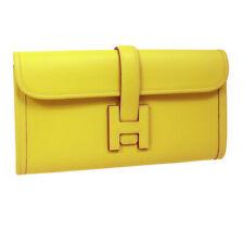HERMES JIGE ELAN 29 H Logos Clutch Hand Bag □Q C0.24 Yellow Veau Epsom A54195