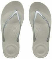 Fitflop Women Iqushion Ergonomic Flip-Flops Toe Thong Sandals, Silver Silver 01