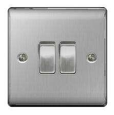 BG Nexus Metal Brushed Steel Double Switch 2 Gang 2 Way Brushed Satin - NBS42