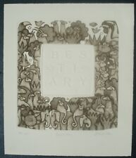 """CAROL JABLONSKY LITHOGRAPH """"Bestiary"""" l/e N.Y.C MODERNIST,listed Bestiary series"""