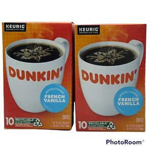Dunkin' French Vanilla Coffee Keurig K cups  Lot of 2  20 Cups Total 4/2022 EXP