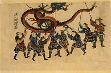Traditional Chinese Dragon Dance Japanese Reproduction Woodblock Picture Print