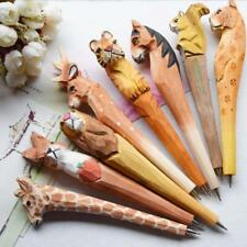 1X Creative Hand Carved Gel Ink Holz Tier Kugelschreiber Ball Point Pen-S