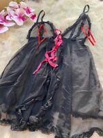 Unbranded black pink Camisole Top sleepwear nightwear size M