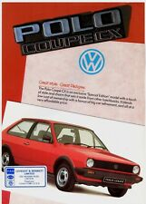 Volkswagen Polo Coupe CX 1050 Limited Edition 1984 UK Market Sales Brochure