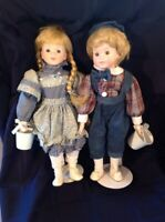 """""""Jack & Jill"""" Porcelain Collector 16""""  Dolls, Set of 2 with Buckets and Stands"""