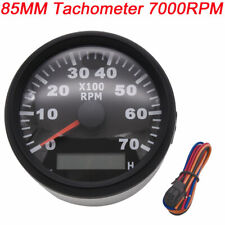 85mm Marine Car Tachometer 7000rpm Diesel Engine With Hour Meter Red Backlight