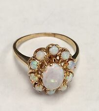 14k Yellow Gold & Opal Cocktail Ring - Size 9.5
