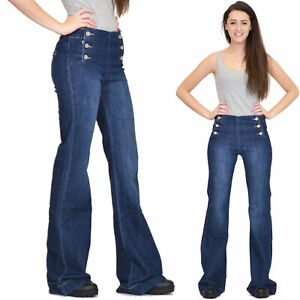 Long Wide Flared Jeans Dark Blue Stretch Denim Bellbottoms Reto Flares