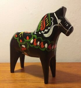 Black Dalecarlian Dala horse traditional Swedish Hand-painted wooden Folk Art