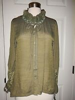 NEW L XL 12 14 Simply Noelle Green Lace Ruffle Collar Long Sleeves Top NWT