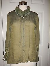 NEW S M 8 10 Simply Noelle Moss Green Lace Ruffle Collar Long Sleeves Top NWT