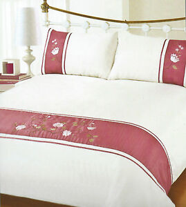 CREAM IVORY PINK DOUBLE OR KING DUVET SET EMBROIDERED CAROL