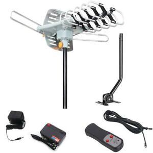 HDTV 1080P Outdoor Amplified Rotation Antenna HD TV 36dB UHF VHF 150Mile + Pole