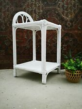 Vintage Midcentury White Bedside Table Plant Stand 70s Bamboo Wicker Cane Rattan