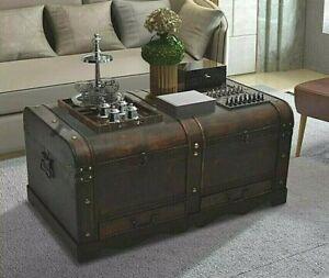 Large Treasure Chest Vintage Coffee Table Wood Antique Blanket Trunk Storage