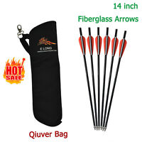 Crossbow Bolts Fiberglass Arrows +Archery Quiver Arrow Holder Bow Back Shoulder