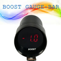 37mm Compact Micro Digital Smoked Lens LED Turbo Boost Gauge Car Meter (Bar) 12V