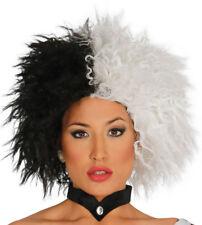 Cruella Peluca de Vil Mujer Disfraz Halloween Bruja Negro Blanco Pelo