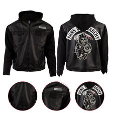 Fashion (SOA) Sons of Anarchy Sweat à Capuche Style Noir Véritable Motard en Cuir Homme Veste