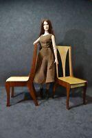 "2 Chairs for Dolls 16"" 1/4 BJD Tonner wood furniture OOAK V5"