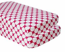 2-Pack Large Dots Crib Fitted Sheet, Bright Pink - US SELLER