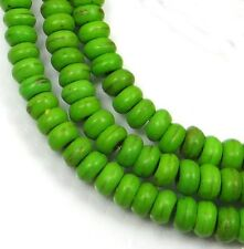 "4x2mm Turquoise Rondelle Beads 16""  - Green"