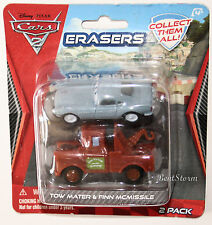 NEW 2 Disney Pixar Cars 2 FINN McMISSILE & TOW MATER ERASERS Car body Lifts