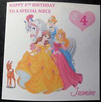 Personalised Disney Princess Birthday Card 1st 2nd 3rd 4th 5th 6th 7th 8th {G62}