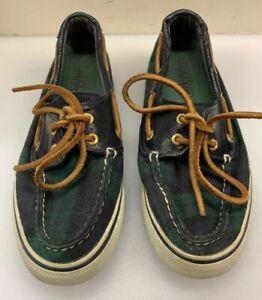 Sperry Top-Sider Women 6 M Boat Shoes Tartan Green Plaid Wool Blue 9443060