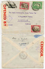 ADEN CAMP via DJIBOUTI 1940 CENSORED + REMOVED from AIRMAIL to SUFFOLK GB