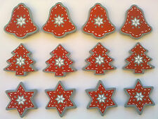 12 Pretty Wooden Painted Nordic Style Christmas Embellishments Tree Star Bell