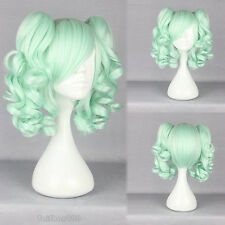 Ice Green Curly Medium Pigtail Ponytail Women's Cosplay Anime Hair Wig Wigs +Cap