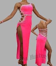 Women Ballroom Rhythm Salsa Rumba Cha Dance Dress US 6 UK 8 Bright Pink Sliver
