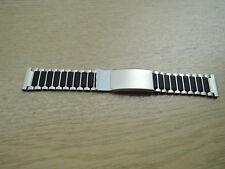 Uhrenarmband schwarz silber Edelstahl 20mm    b336