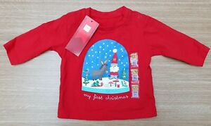 MARKS & SPENCER Boys Girls Red Baby Top Christmas Age Up To 1 Month Santa Claus