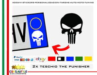 2X ADESIVO TESCHIO THE PUNISHER STICKER  per AUTO MOTO TARGA PRESPAZIATO VINILE