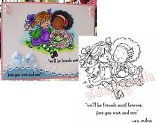 CATCHING UP Cling Rubber Stamp MO146 Stamping Bella Stamps Friends Tea words