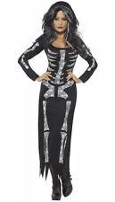 Women's Skeleton Fancy Dress Costume Long Sleeved Tube Dress Small UK 8-10