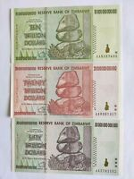 Zimbabwe Trillion Dollars set 10, 20, 50 Notes. UNC set of 3