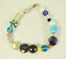 """Vintage Sterling Silver Mixed Art Glass~Murano~Clay~Pearl Bead Bracelet 8"""""""