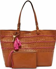 Fossil  Rachel Collection Perforated Shoulder Tote Brown Pink Leather NWT $228
