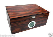 CIGAR HUMIDOR 75 ct Macassar Finish Digital Front Mount Hygrometer + Humidifier