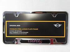 OEM Mini Cooper License Plate Frame Cooper S Polished Steel 82120307592