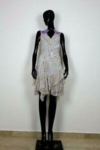 leichtes Sommerkleid Häkeleinsatz Zipfelrock flieder/blau neu Kleid Gr. M/L #662