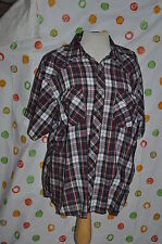 RUSTLER MENS 2XXL RED PLAID SHORT SLEEVED WESTERN SHIRT ROCKABILLY COWBOY EUC