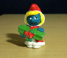 """Smurfs Santa Smurfette Christmas Present Rare Vintage 2"""" Smurf Toy Figure 20153"""