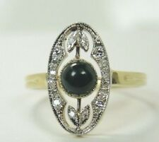 Antique Deco Vintage Bloodstone 18K Yellow Gold Platinum Ring Size 7.5 UK-O1/2