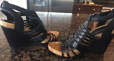BCBG Generation Black Leather Strappy Wedge Sandals Heels SZ 8 NEW